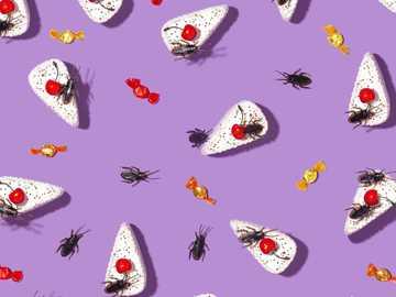 bonbons d'Halloween - illustrations de fourmis en noir et rouge.