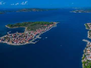 Island Krapanj - top view of island. Krapanj, Croatia