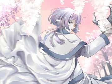 biały smok pośród sakury - Gija biały smok w Jona świtu w lesie sakura.