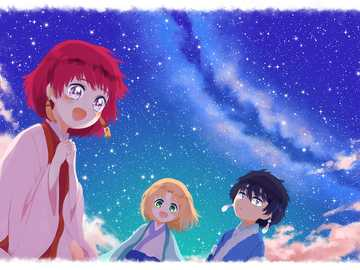stars in your eyes - young Yona, Hak, and Su-won from yona of the dawn