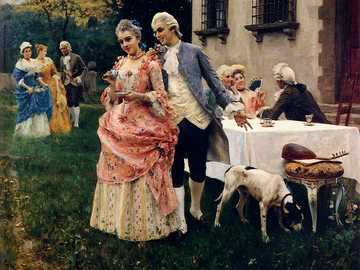 An afternoon tea - Painting by Federico Andreotti. He devoted himself to oil and watercolor painting with scenes from t