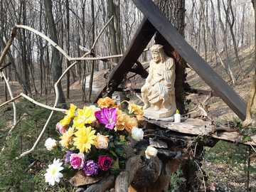 kapliczka w lesie - kapliczka w lesie pod Rzeszowem