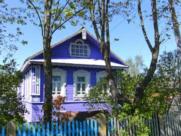 Somewhere in Russia - Russian dacha - colorful wooden house