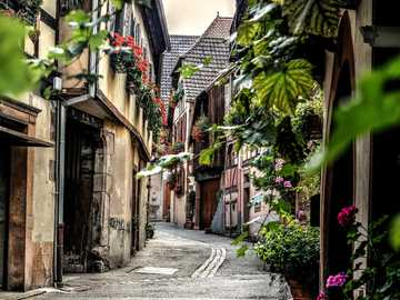 A small town in Alsace - A street in the city of Colmar in France