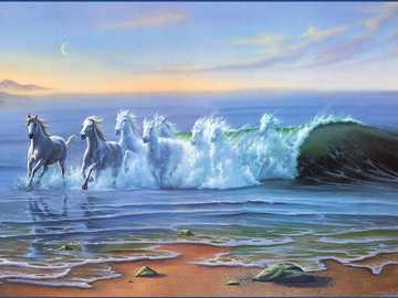 Horse of waves - The power of the waves on the coast combines with the power of horses in the fantasy picture by Jim