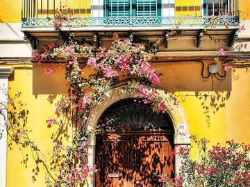 Calabria - - beautiful facade - sunny color and flowers