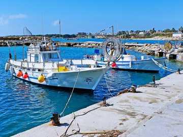 barca bianca e blu sul molo durante il giorno - Vista dalla passeggiata sul mare di Paphos - verso est dalla città. Paphos, Cipro
