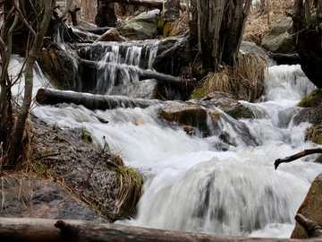 fotografía de lapso de tiempo de agua que fluye - Derretimiento rápido de la nieve - Río Tesuque, Nuevo México.