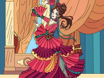 "Flamenco Girl - I made this on an application called ""Color Planet""."