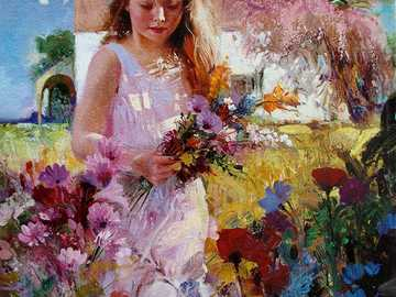 Girl is picking flowers - Painting by Pino Daeni.