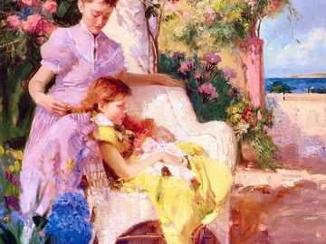 mother and daughter - Painting by Pino Daeni.