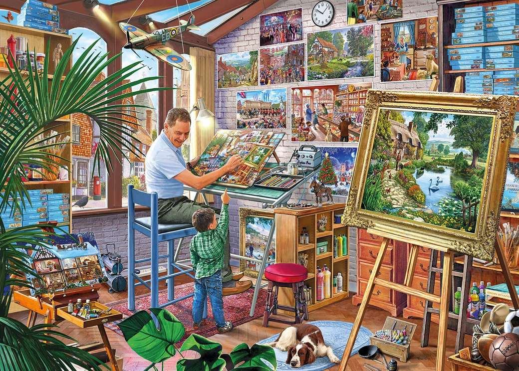 Painter's studio - Painter studio, painter, child, dog, painting