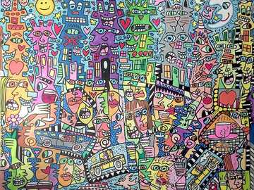 Summer of Love in my City - Artwork by James Rizzi. Modern art. Acrylic on canvas.
