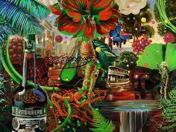 Advertising Pop Art No 4 - Artwork by Jean-Pierre Kunkel. Modern art. Mixed media on canvas.