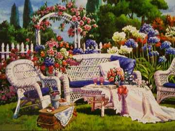 In a romantic garden. - Painting: in a romantic garden.