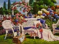 Em um jardim romântico. - Pintura: em um jardim romântico.