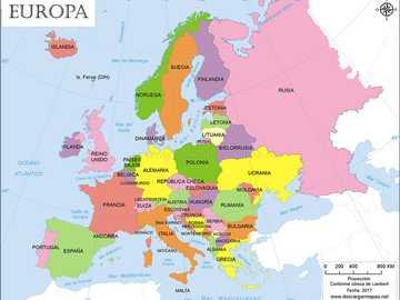Mapa Europy - ŁADUNEK DO IDENTYFIKACJI KRAJÓW KONTYNENTU EUROPEJSKIEGO.