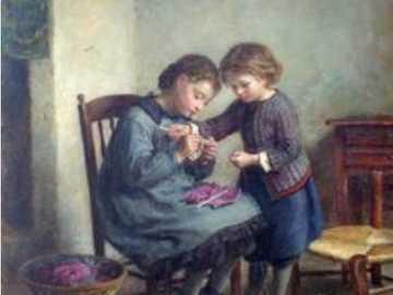 dívky se učí ruční práci - dívky se učí ruční práci