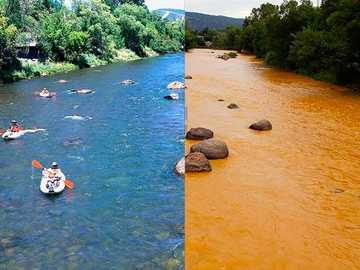 contaminated river - river before and after contamination.