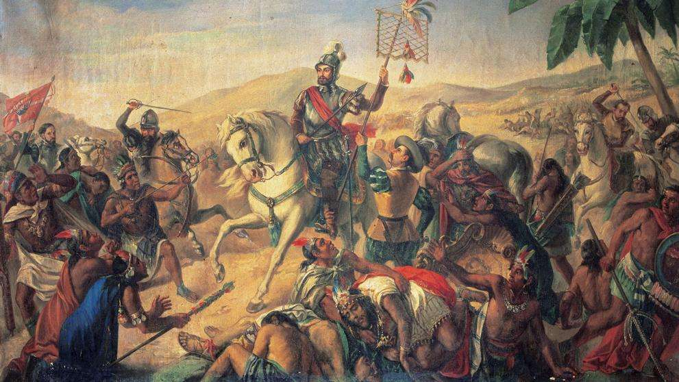 A hódítás - A mexikói hódítás megemlíti az azték birodalom beadását, amelyet a spanyolok adtak át a spanyol korona nevében Hernán Cortes spanyol hódító irányítása alatt (5×3)