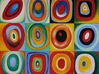 Estudo de cores com quadrados - Vasili Kandinski foi um pintor russo, um precursor da arte abstrata na pintura e um teórico da arte