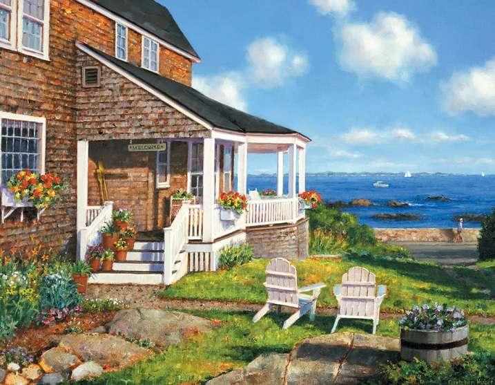 A la orilla del mar. - La casa está construida a la orilla del mar.