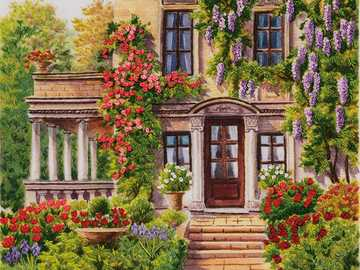Wisteria on the house - House, wisteria, climbing roses, flowers