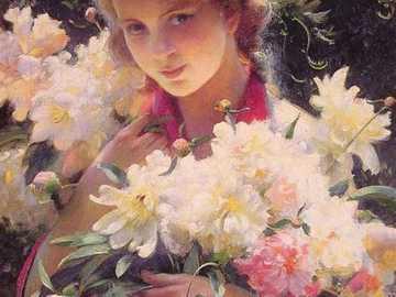 Donna con fiori - Dipinti, donna, fiori