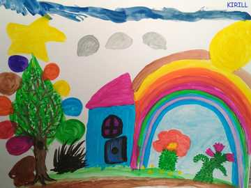 rainbow - drawing tempera quarantined landscape