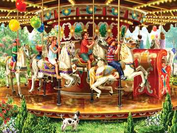 Karussell - Karussell, Pferde, Kinder, Hund, Luftballons