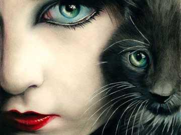 Joven con gato =) - Jovencita con gato negro