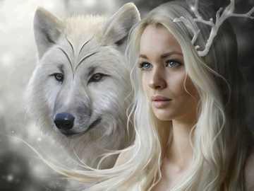 Jeune, loup - Jeune homme avec un loup en hiver