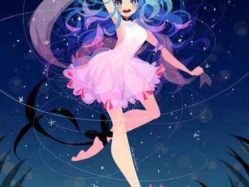 moonlight dancer - anime girl dancing in the light of the moon.