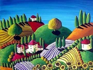 Tuscan paisajes y girasoles - Tuscan paisajes y girasoles
