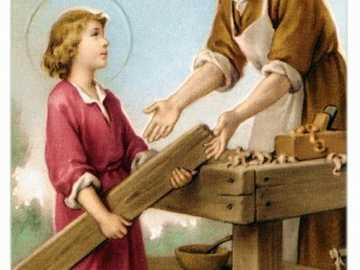 JESUS CONTINUA CRECIENDO - JESUS CUANDO ERA NIÑO, AYUDABA A SU PAPA EN LAS TAREAS DE CARPINTERIA DE SU PAPA, JOSE.