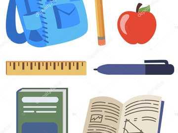 School tools - backpack book ruler eraser apple pen