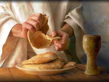 Partiendo el pan - Jesús en la última cena.