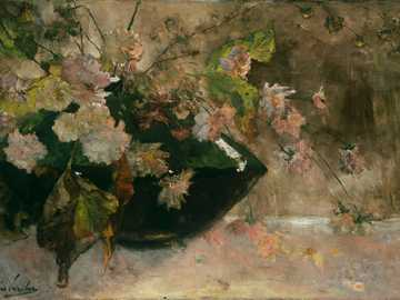 white and green leaves on brown wooden table - Title: Still life with peonies. Date: 1889. Institution:Rijksmuseum. Provider: Rijksmuseum. Providin