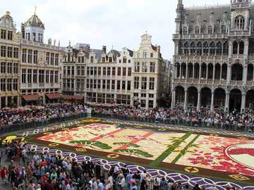A floral rug - floral carpet arranged on the market in Brussels