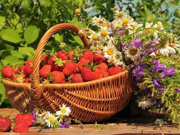 Basket With Strawberries And Wildflowers - Basket With Strawberries, Wildflowers