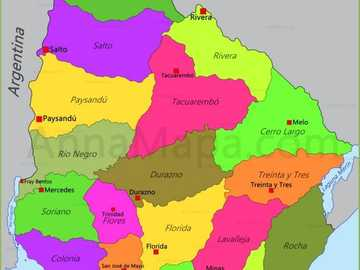 Map of Uruguay - The departments of Uruguay