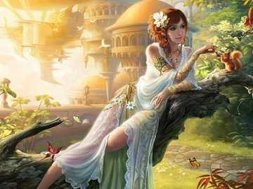 Art-fantasy-girl-feeding-squirrel-garden-butterfly - Art-fantasy-girl-feeding-squirrel-garden-butterfly-walkway
