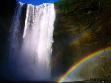 waterfalls photograph - Skogafoss in all its glory. Skógafoss, Iceland