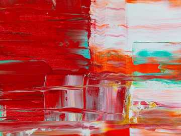 red and green abstract painting - Detail from abstract painting by Steve Johnson.