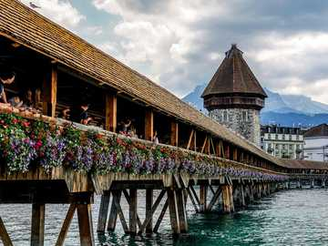 oldest wooden bridge - Lucerne Switzerland monastery bridge