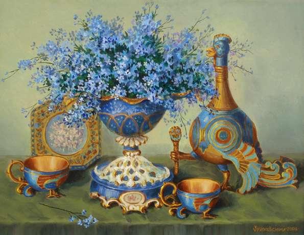 forget-me-nots and a unique vase - forget-me-nots and a unique vase - cups