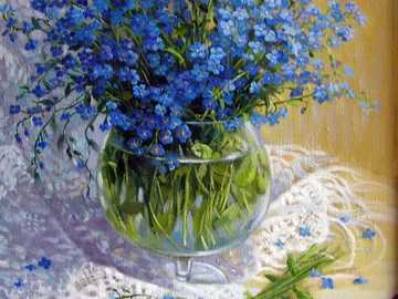 forget-me-nots and a glass vase - forget-me-nots in a glass vase - interior