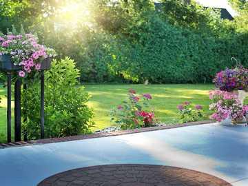 Poranek w ogrodzie - widok na ogród -kwiaty