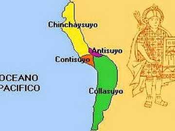 Karte von tahuantinsuyo - Karte, die die Dimensionen des Inka-Reiches beschreibt