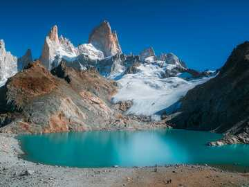 Mount fitzroy - Glacier mountains and deep blue lake